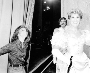 Kathline Colvin, Alan Titus and Beverly Sills Backstage during the San Diego Opera Production of The Merry Widow, October 1977. Courtesy of the San Diego Opera.